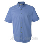 Cerulean Blue Short Sleeve men's Cotton dress shirt