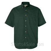 Dark Green Short Sleeve men's Cotton dress shirt