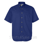 Blue Short Sleeve men's Cotton dress shirt