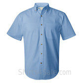 Glacier Blue Short Sleeve Stain Resistant Dress Shirt for Men
