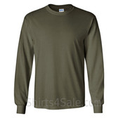 Gildan Ultra Cotton - 100% Cotton Long-Sleeve T-Shirt - Army Green