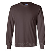 Gildan Ultra Cotton - 100% Cotton Long-Sleeve T-Shirt - Dark Brown
