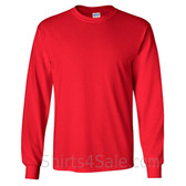 Gildan Ultra Cotton - 100% Cotton Long-Sleeve T-Shirt - Red