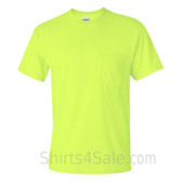 Neon Green Cotton mens t shirt with a Pocket