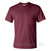 Maroon Cotton mens t shirt with a Pocket