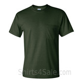 Dark Green Cotton mens t shirt with a Pocket