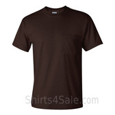 Dark Brown Cotton mens t shirt with a Pocket