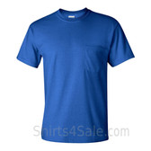 Blue Cotton mens t shirt with a Pocket