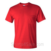 Red Cotton mens t shirt with a Pocket