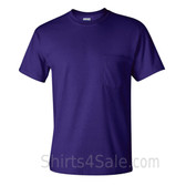 Purple Cotton mens t shirt with a Pocket