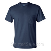 Navy Cotton mens t shirt with a Pocket