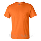 Safety Orange Cotton mens t shirt with a Pocket