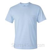 Light Blue Cotton mens t shirt with a Pocket