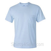 Light Blue Cotton mens t shirt with a Pocket