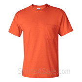 Dark Orange Cotton mens t shirt with a Pocket