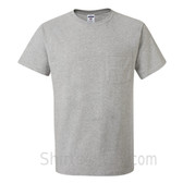Gray Heavyweight durable fabric men's tshirt with a Pocket