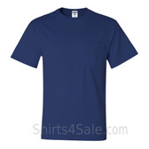 Blue Heavyweight durable fabric men's tshirt with a Pocket