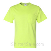 Neon Green Heavyweight durable fabric men's tshirt with a Pocket
