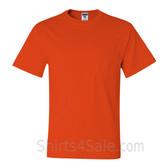 Dark Orange Heavyweight durable fabric mens tshirt with a Pocket
