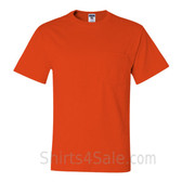 Dark Orange Heavyweight durable fabric mens tshirt with a Pocket