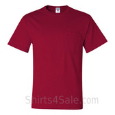 Red Heavyweight durable fabric men's tshirt with a Pocket