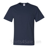 Navy Heavyweight durable fabric men's tshirt with a Pocket