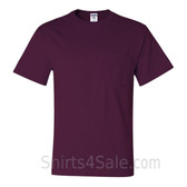 Maroon Heavyweight durable fabric men's tshirt with a Pocket