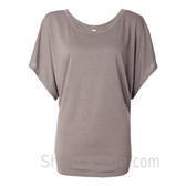 Ladies' Flowy Draped Sleeve Dolman Tee - Light Brown