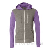 Gray and Light Purple Hooded Men's Fleece