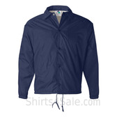 Navy Sports wear Coach's Snap Front Water-Resistant Jacket