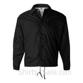 Black Sports wear Coach's Snap Front Water-Resistant Jacket