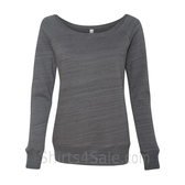 Bella Women's Triblend Sponge Fleece Slouchy Wideneck Sweatshirt(Dark Grey Marb)
