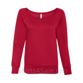 Bella Women's Triblend Sponge Fleece Slouchy Wideneck Sweatshirt(Red)