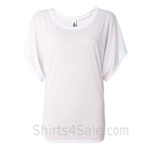 Ladies' Flowy Draped Sleeve Dolman Tee - White