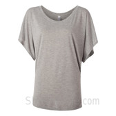 Ladies' Flowy Draped Sleeve Dolman Tee - Light Gray
