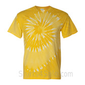Golden Yellow Spiral Tie Dye Tee Shirt