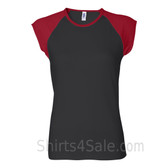 Red Cap Sleeve Black Women's 2Color Tee Shirt