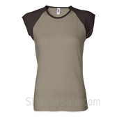 Brown Cap Sleeve Tan Women's 2Color Tee Shirt