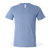 Bella+Canvas Unisex Tri-Blend V-Neck Tee - Light Blue Triblend