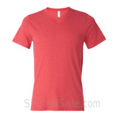 Bella+Canvas Unisex Tri-Blend V-Neck Tee - Light Red Triblend