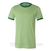 Heather Green x Green Mens Round(Crew) Neck Ringer Tee