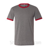 Heather Charcoal x Cardinal Mens Round(Crew) Neck Ringer Tee