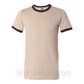 Heather Tan x Brown Mens Round(Crew) Neck Ringer Tee