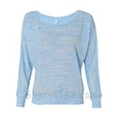 Bella 8850 Ladies' Flowy Off-Shoulder Long-Sleeve Dolman Top Shirt(Blue)