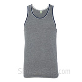 Grey / Navy Recycled & Organic Double Ringer Men's Tank Top