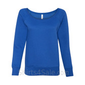 Bella Women's Triblend Sponge Fleece Slouchy Wideneck Sweatshirt(Blue)