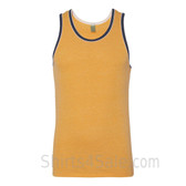 Golden Yellow / Navy Recycled & Organic Double Ringer Men's Tank Top
