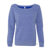 Bella Women's Triblend Sponge Fleece Slouchy Wideneck Sweatshirt(Blue Triblend)