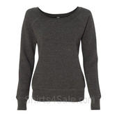 Bella Women's Triblend Sponge Fleece Slouchy Wideneck Sweatshirt(Charcoal)