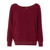 Bella Women's Triblend Sponge Fleece Slouchy Wideneck Sweatshirt(Dark Red)